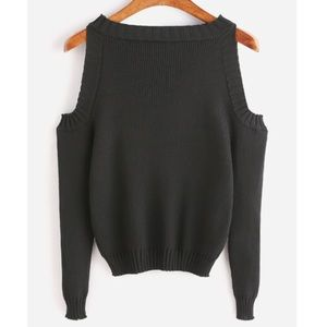 Sweaters - Knitted Cold Shoulder Sweater